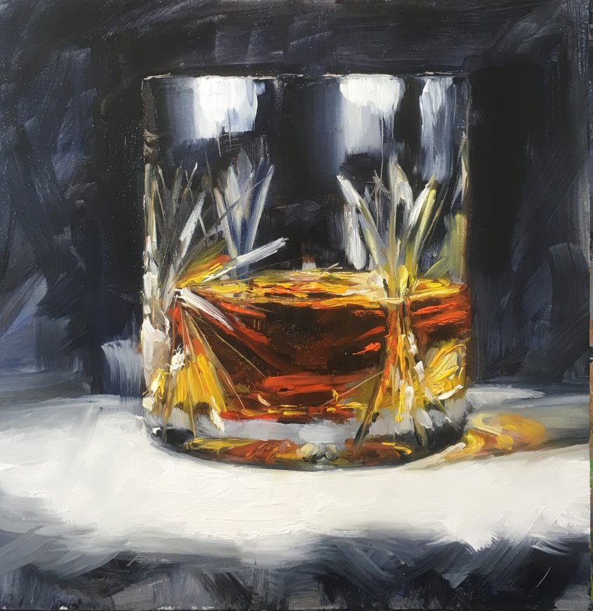 Whisky, oil on board, 30x30cm (sold)