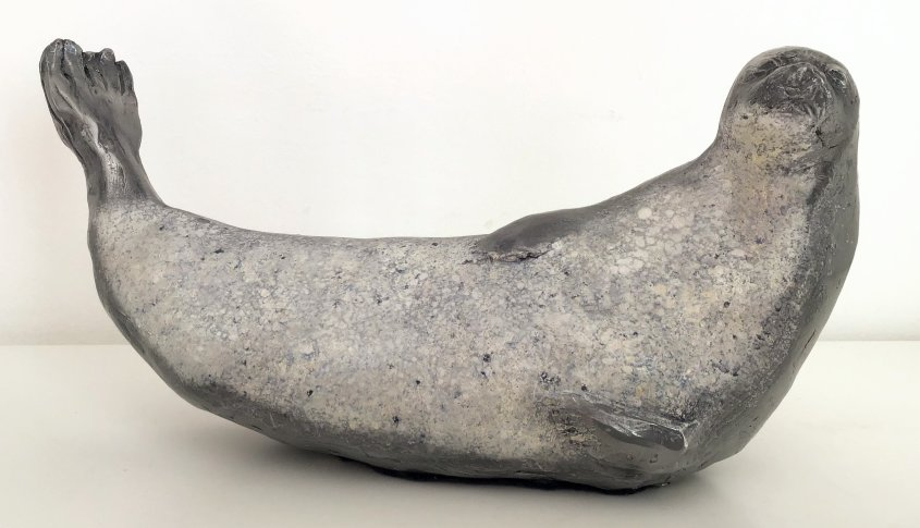Grey Seal, cold cast aluminium, approx 30cm in length