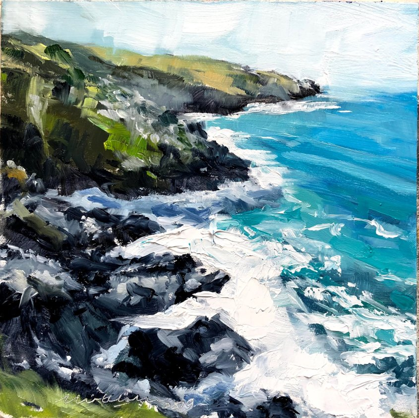Cornish Cliffs october, oil on board, 20x20cm - £85