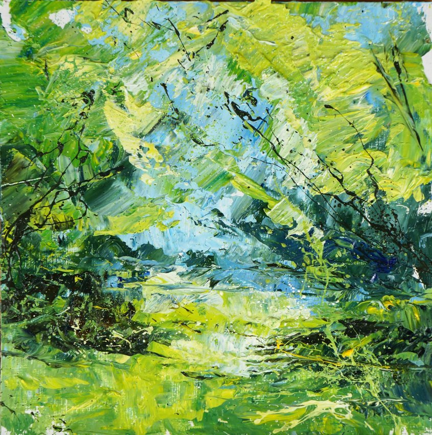 New Forest study, oil on board, 20x20cm (sold)