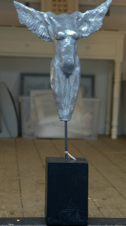 On Borrowed Wings, cold cast aluminium, approx 55cm
