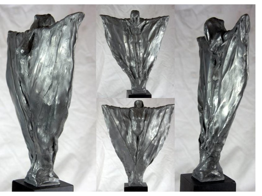 Awakening, aluminium resin, approx 30cm plus base - £120