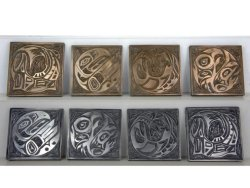 Coasters, cold cast aluminium and bronze resin, each approx 10x10cm