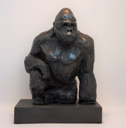 Silverback, cold cast iron, approx 25cm tall