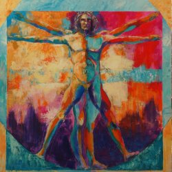 Vitruvian Man, acrylic on canvas, 100x100cm