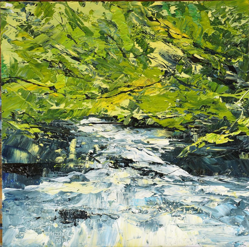 Woods and Water 1, oil on board, 30x30cm (sold)