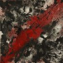 Red, black and silver, mixed media