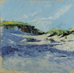 Brancaster Dunes November, oil on board, 30x30cm (sold)