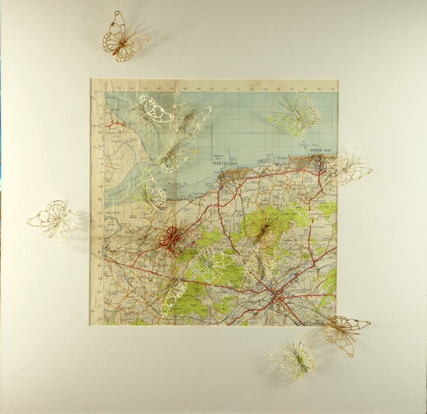 Canterbury and the Coast, paper collage on linen map, 50x50cm (sold)