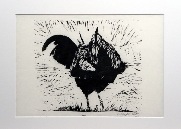 Cock! - linoprint