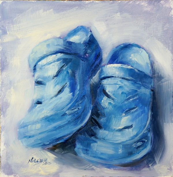 Blue Crocs, oil on board, 20x20cm (SOLD)