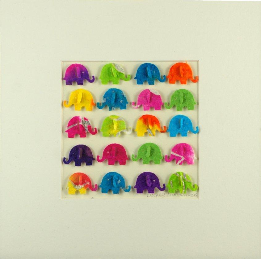 Elephants, collage, 23x23cm (Sold)