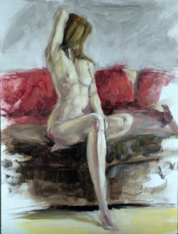 Figure Study, oil on board, 30x40cm (sold)