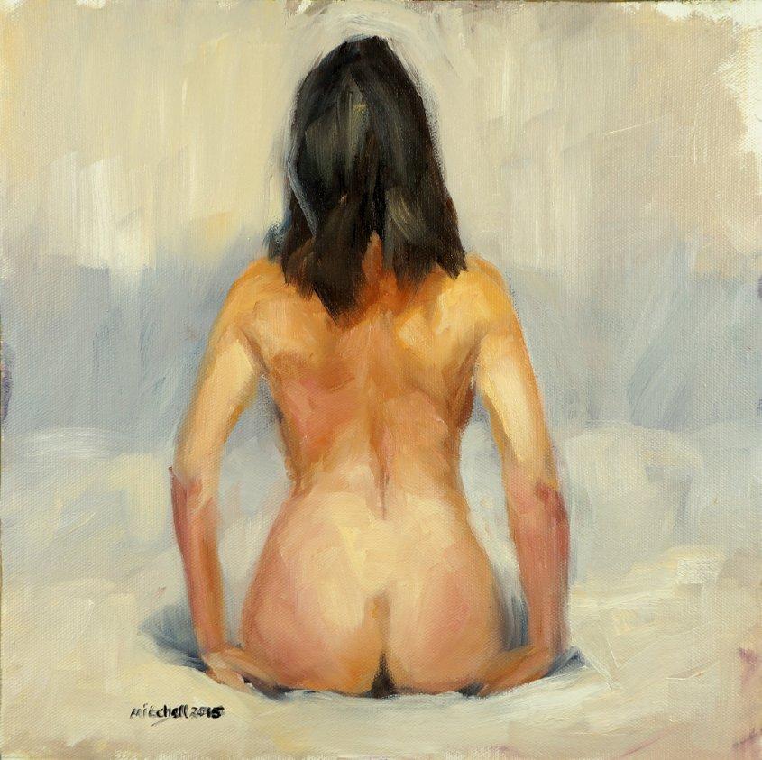 Figure Study - Back, oil on board, 32x32cm (sold)