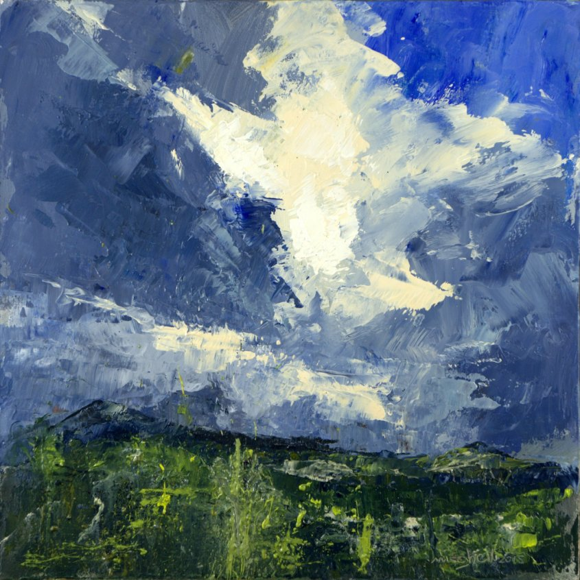 Glengarry Clouds, oil on board, 30x30cm