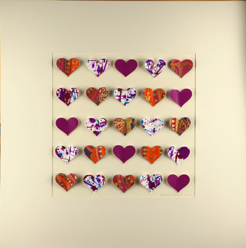 Hearts, collage with hand made paper, 50x50cm (sold)