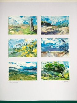 Six Studies, acrylic on paper, each 15x10cm (sold)