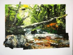 River Fowey at Golitha, acrylic on paper, 40x35cm approx (sold)