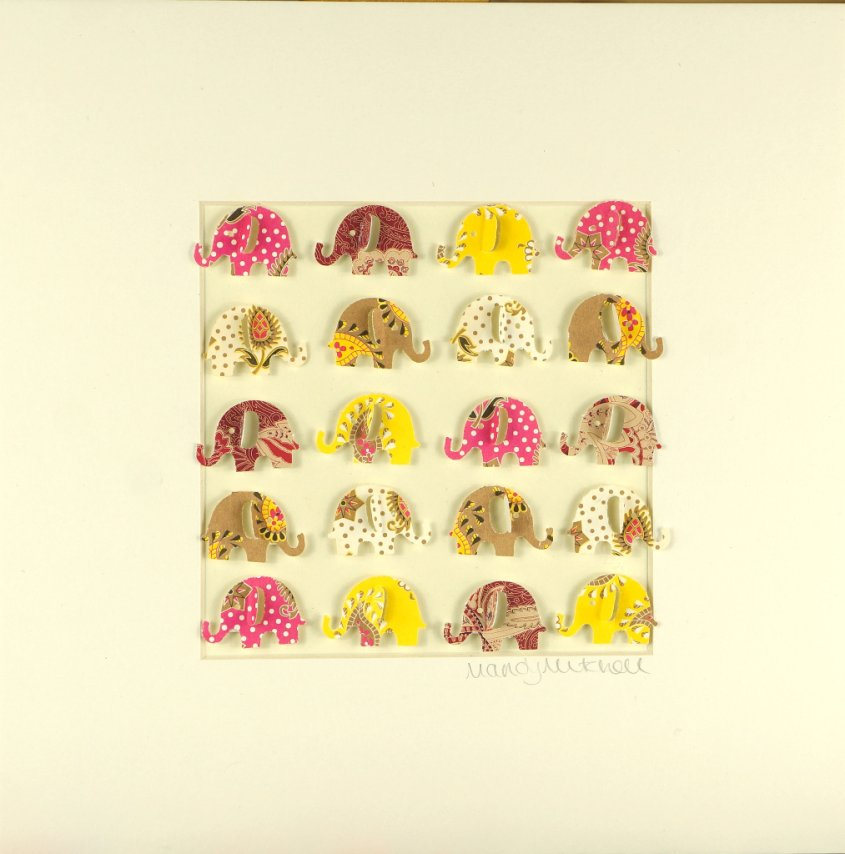 IndianElephants, collage, 23x23cm (sold)