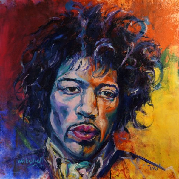 Jimi, 80x70cm, oil and acrylic on canvas