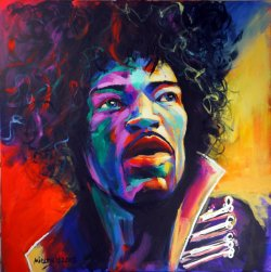 Jimi, 100x100cm, acrylic on canvas (Sold)
