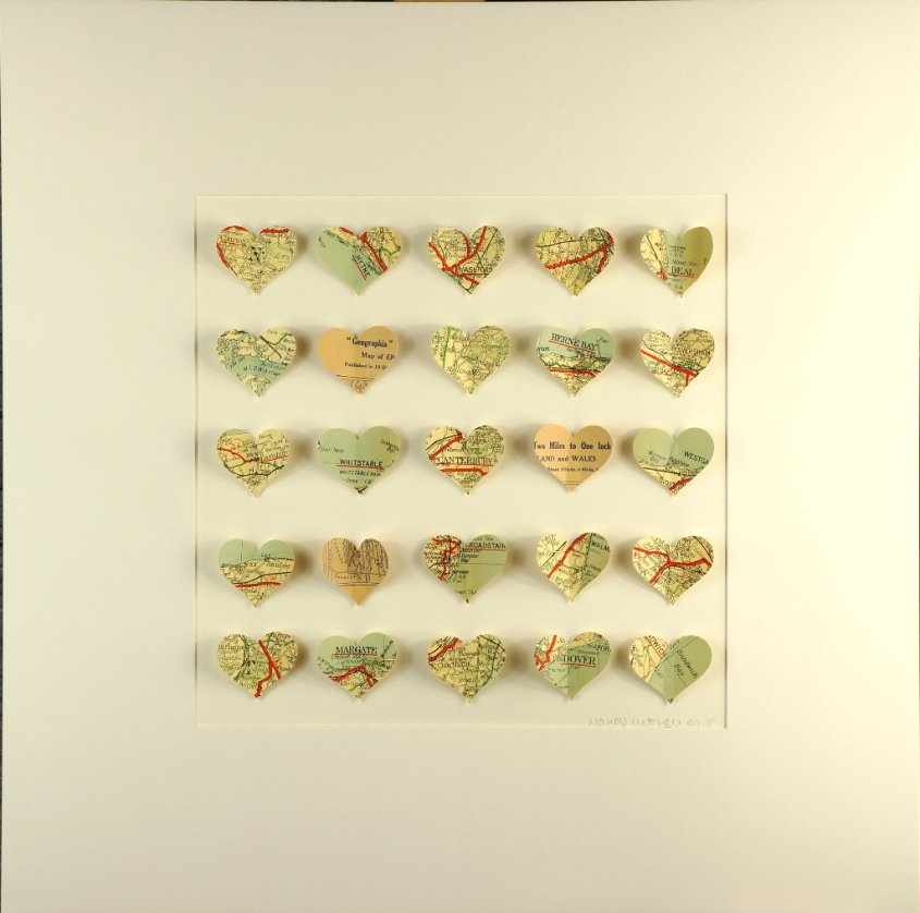 Kent Hearts, collage, 50x50cm (SOLD)