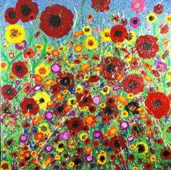 Meadow 1, acrylic on canvas, 80x80cm (sold)