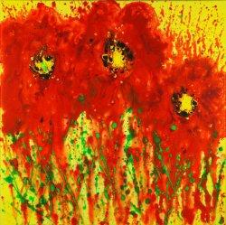 Poppies, acrylic on canvas, 50x50cm