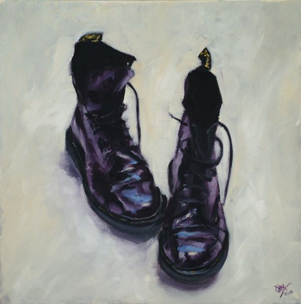 Purple DMs, oil on canvas, 16x16 (SOLD)