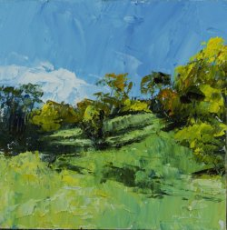 Queendown Warren, oil on board, 20x20cm