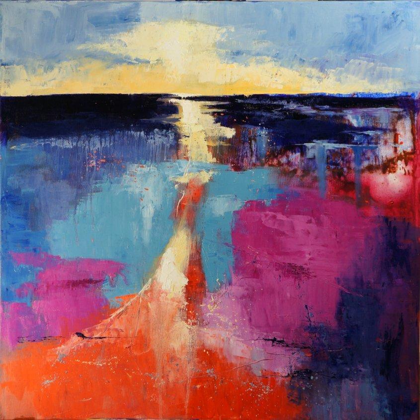 Sheringham Beach, oil on canvas, 80x80cm