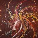 Spiral on Red, acrylic - SOLD