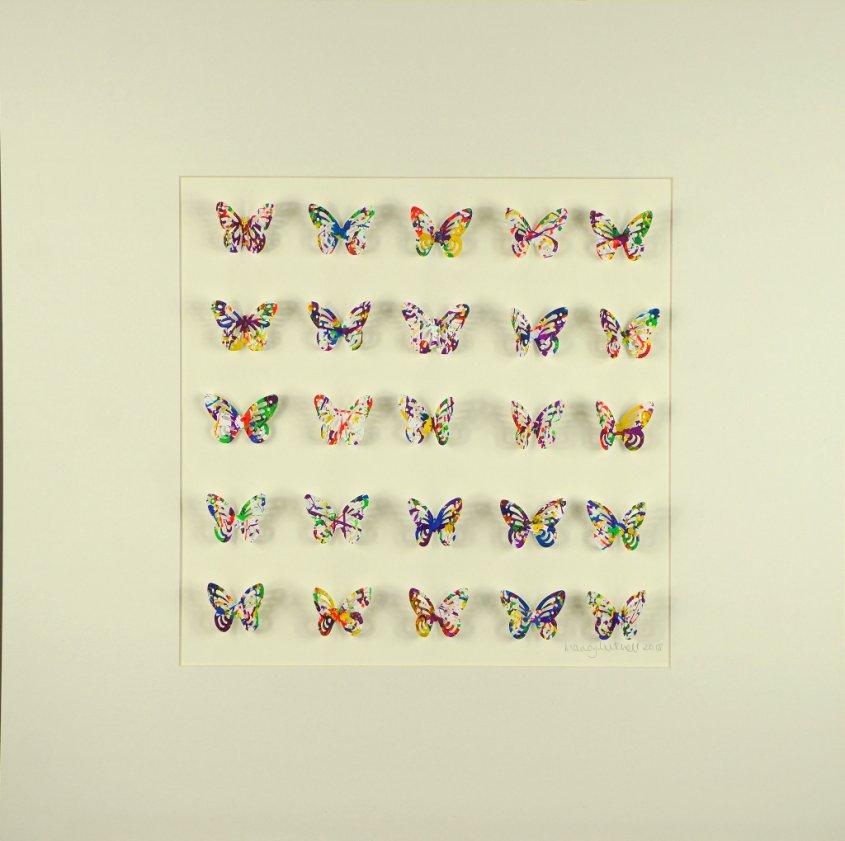 Splatterflies, collage, 50x50cm