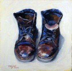 Studio Boots, oil on board, 20x20cm