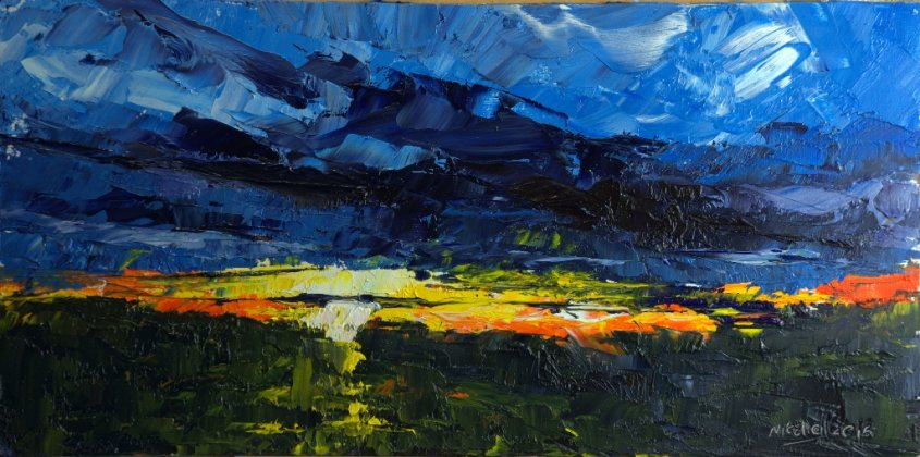 Study for a Sunset, oil on bhoard, 40x20cm (sold)