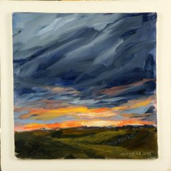 Sunset study 2, oil on board, 15x15cm (sold)