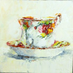 Tea for One, oil on board, 20x20cm (sold)