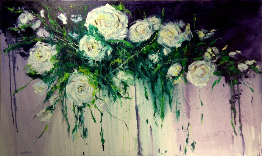 White Roses, oil on canvas, 150x90cm (sold)