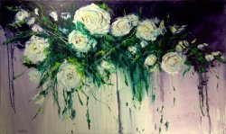 White Roses, oil on canvas, 150x90cm