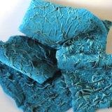 Aqua felted velvet scarf