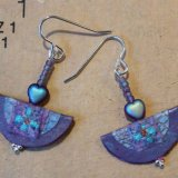 Dainty half-moon lavender earrings