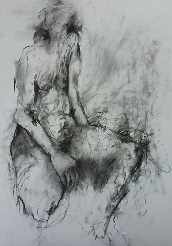 Nude study 2. Charcoal on paper