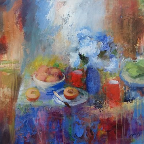 Still life painting of a table top with flowers, red mugs, bowl of peaches and 2 peach halves in rusts, bright red, blues