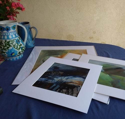 Works on paper, mounted and sealed in cello bags