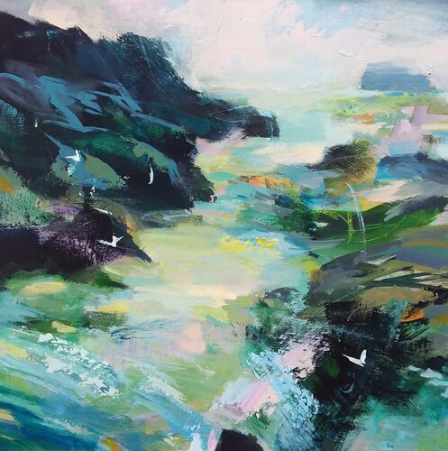 Square seascape painting of a cove with seabirds in blues and green