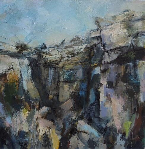Painting of tall cliffs in blue and greys