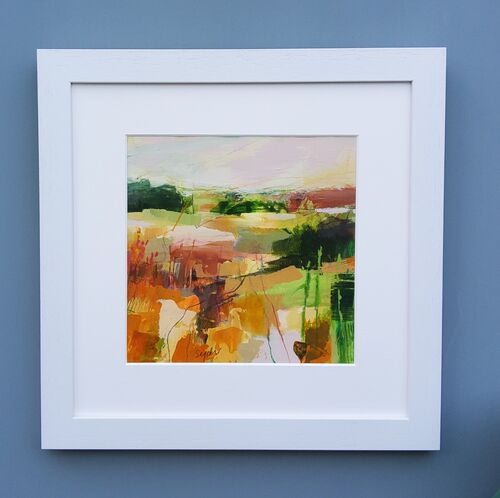 Contemporary landscape painting in spring colours