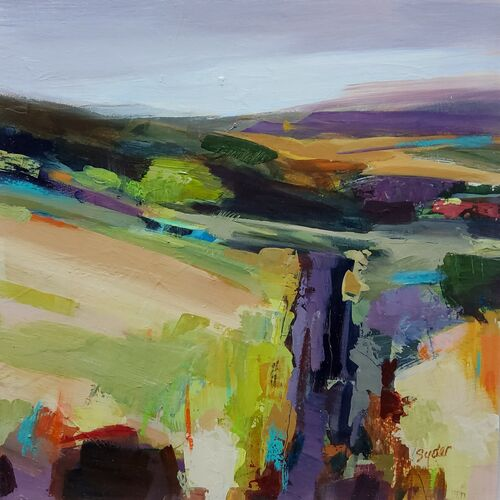 Moorland contemporary Landscape in orange, purple and greens with road