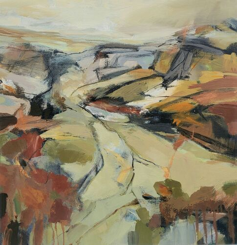 Painting looking down a valley, rusts, ochre, sage green