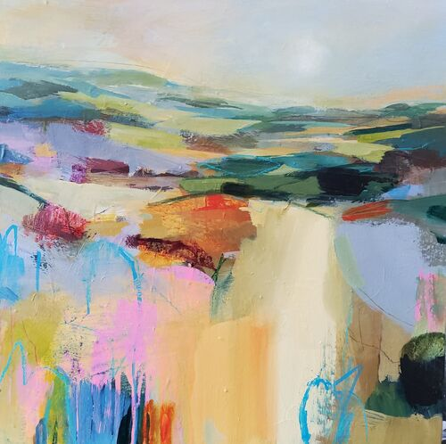 Vibrant abstract landscape in orange blue and green